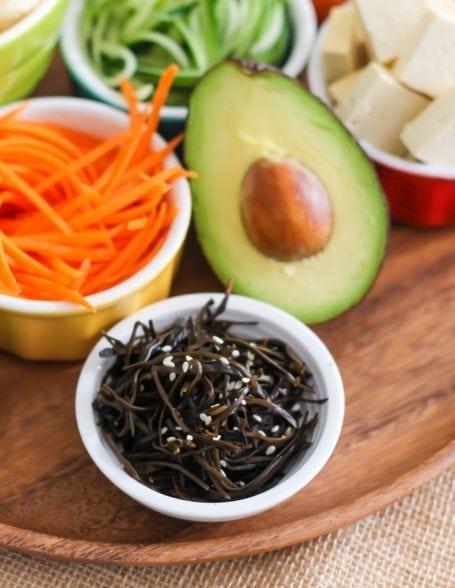 arame seaweed carrots and avocado