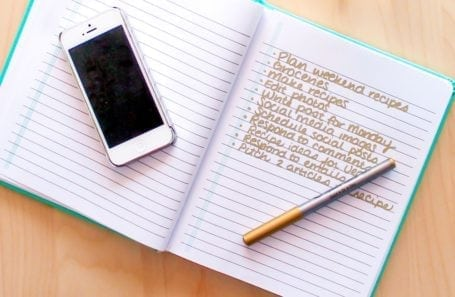 notebook and to-do list