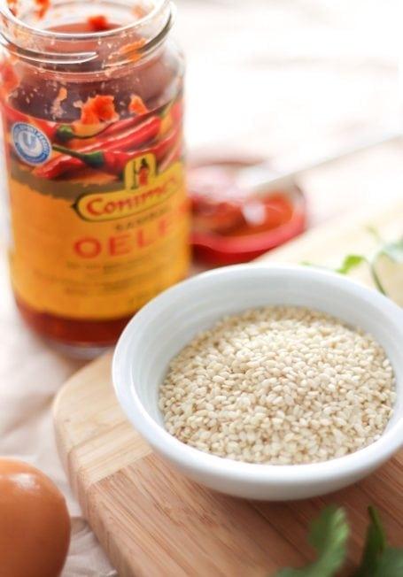sesame seeds and chili garlic sauce