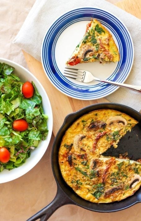 Sundried Tomato, Chard and Mushroom Frittata - Eat Spin Run Repeat