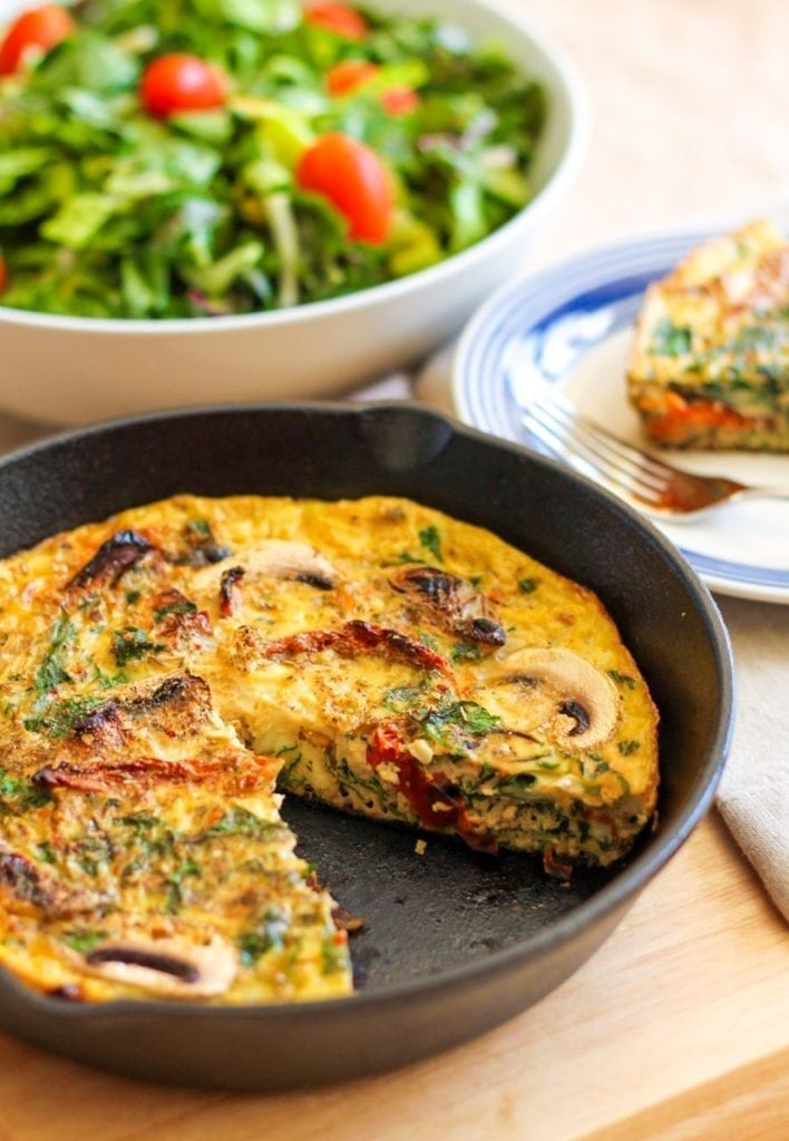 Sundried Tomato, Chard and Mushroom Frittata | A delicious healthy brunch that's high in protein, gluten-free and suitable for paleo and Whole30 diets. | #paleo #whole30 #brunch #eggs #eatclean
