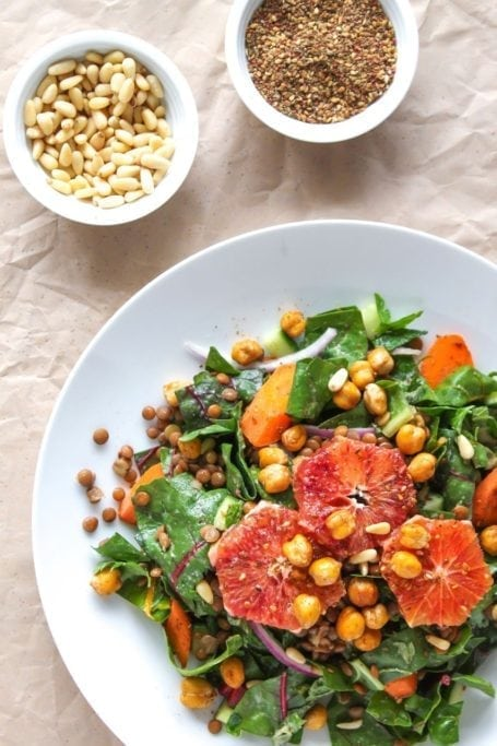 Za'atar Roasted Chickpea Salad with Garlic Tahini Dressing - Eat Spin Run Repeat