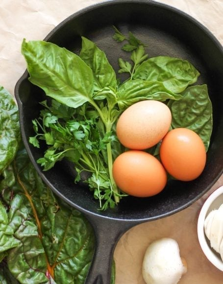 eggs chard and fresh herbs
