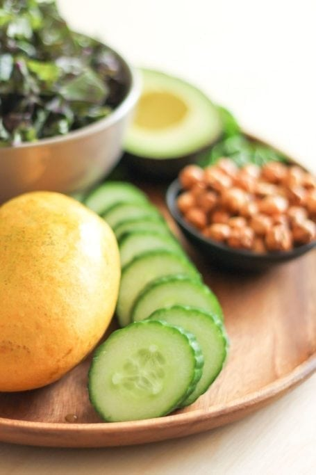 sliced cucumber and mango
