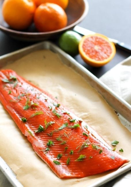 sockeye salmon with herbs