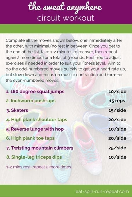 Fit Bit Friday 245- The Sweat Anywhere Circuit Workout - Eat Spin Run Repeat