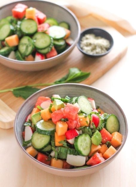 Hydrating Cucumber, Melon and Avocado Salad - Eat Spin Run Repeat