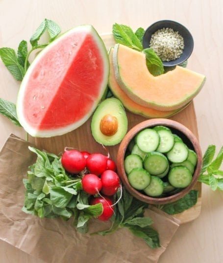 Ingredients for Hydrating Cucumber, Melon and Avocado Salad - Eat Spin Run Repeat