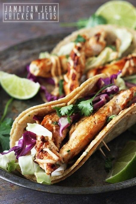 Jamaican Jerk Chicken Tacos - Le Creme de la Crumb