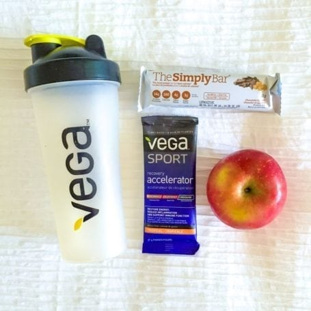 Post-race refuel - Simply Bar, Vega Recovery Accelerator and an apple