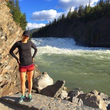 Running near Bow Falls, Banff