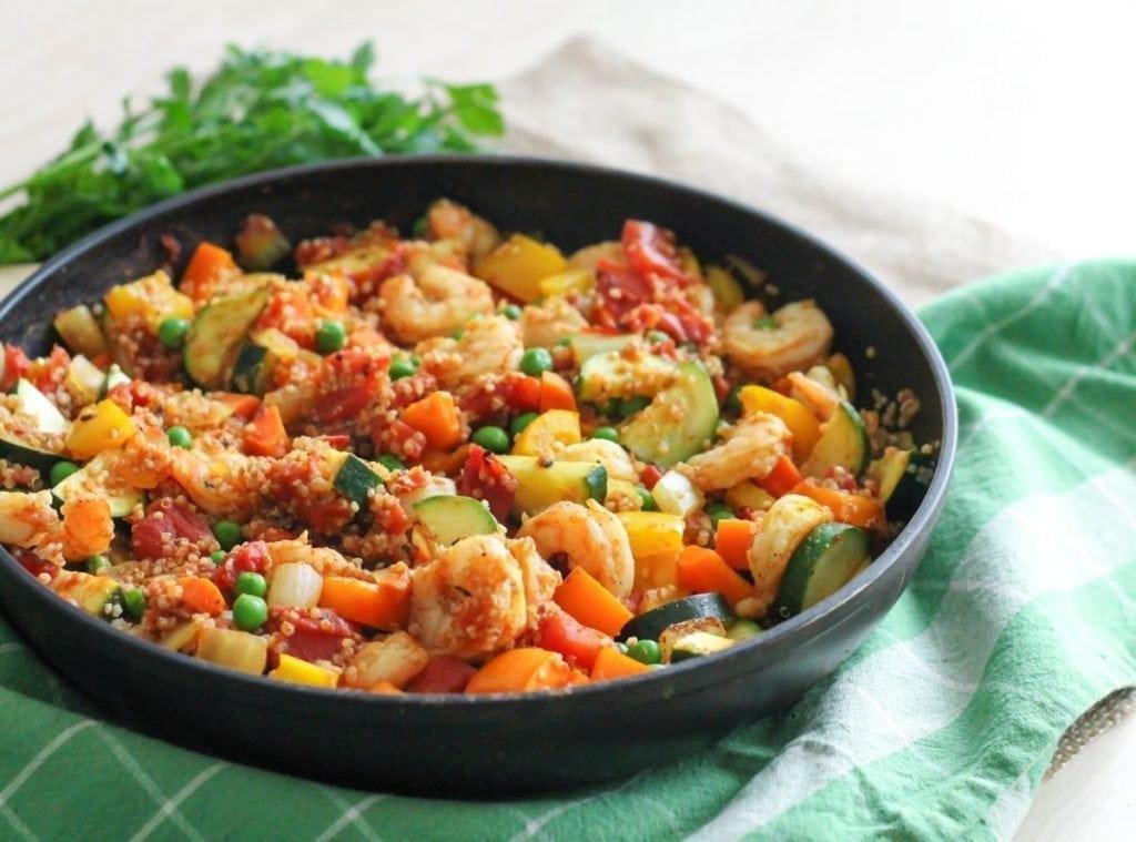 Shrimp and Quinoa Paella - Eat Spin Run Repeat