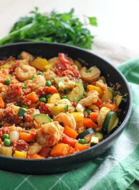 Shrimp and Quinoa Paella - Eat Spin Run Repeat