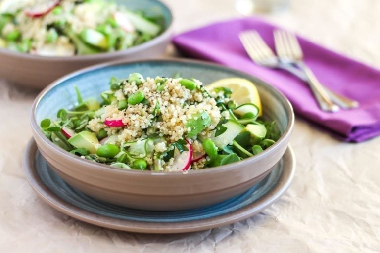 Spring Pea Quinoa Salad with Lemon Vinaigrette - Eat Spin Run Repeat