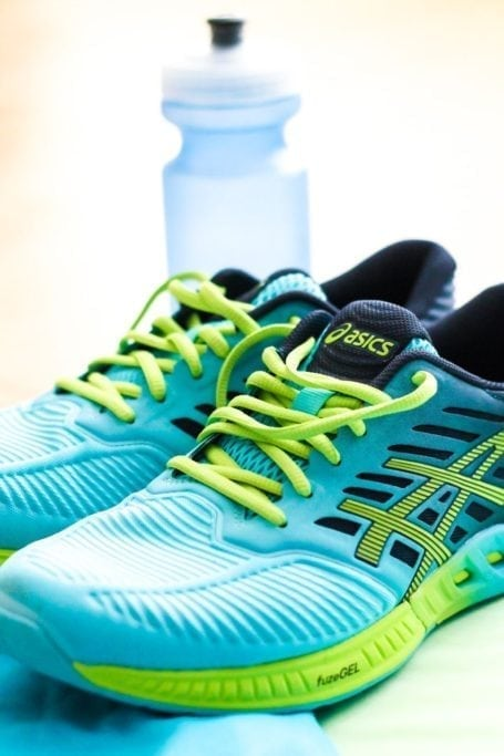 asics fuzeX and water bottle