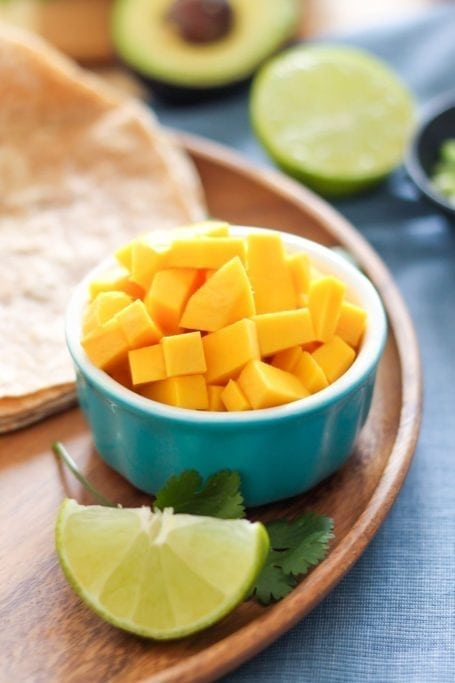 diced mango and lime