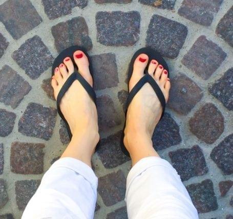 freshly pedicured toes