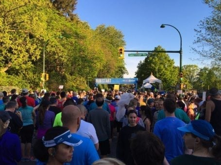 just before the start at BMO Vancouver Half Marathon 2016