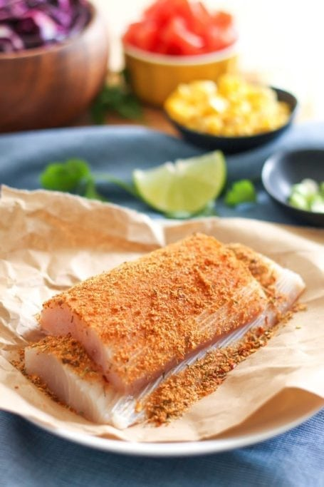 mahi mahi fillets rubbed with cajun seasoning