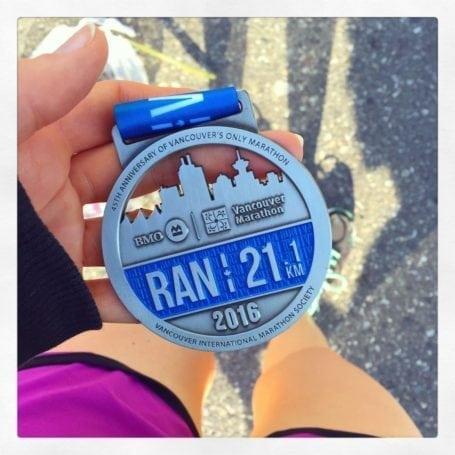 medal from bmo half marathon 2016