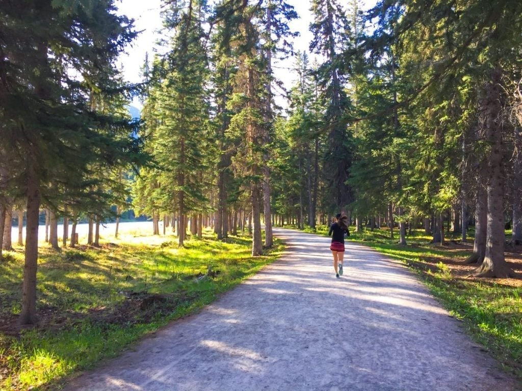 running along bow river trails