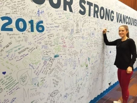 signing the wall at the BMO Half Marathon 2016