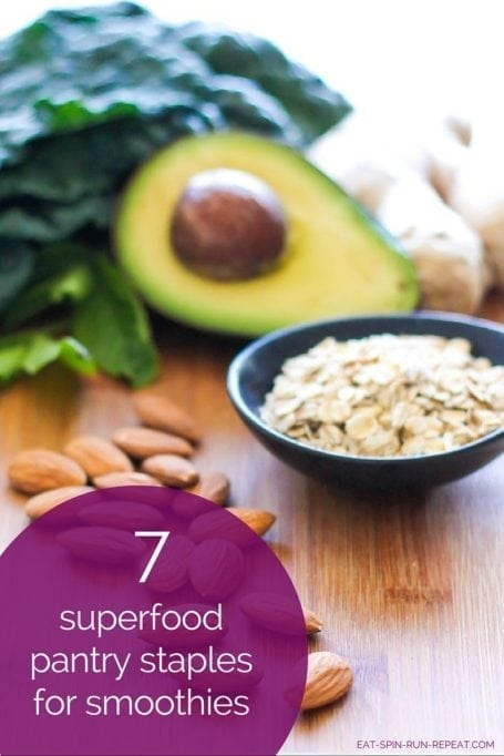 7 superfood pantry staples for smoothies and a delicious vegan Stress Release Smoothie recipe - Eat Spin Run Repeat