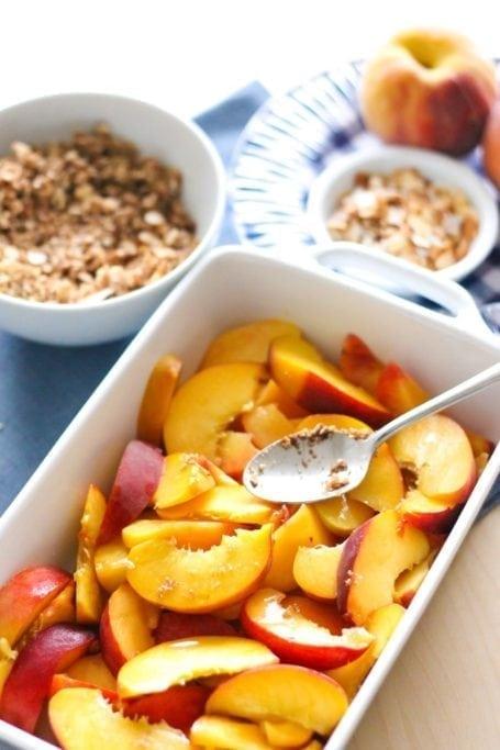 Diced peaches for Gluten-Free Coconut Almond Peach Crisp with Vanilla 'Nice Cream' - Eat Spin Run Repeat