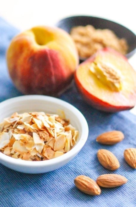 Flaked coconut with almonds and peaches