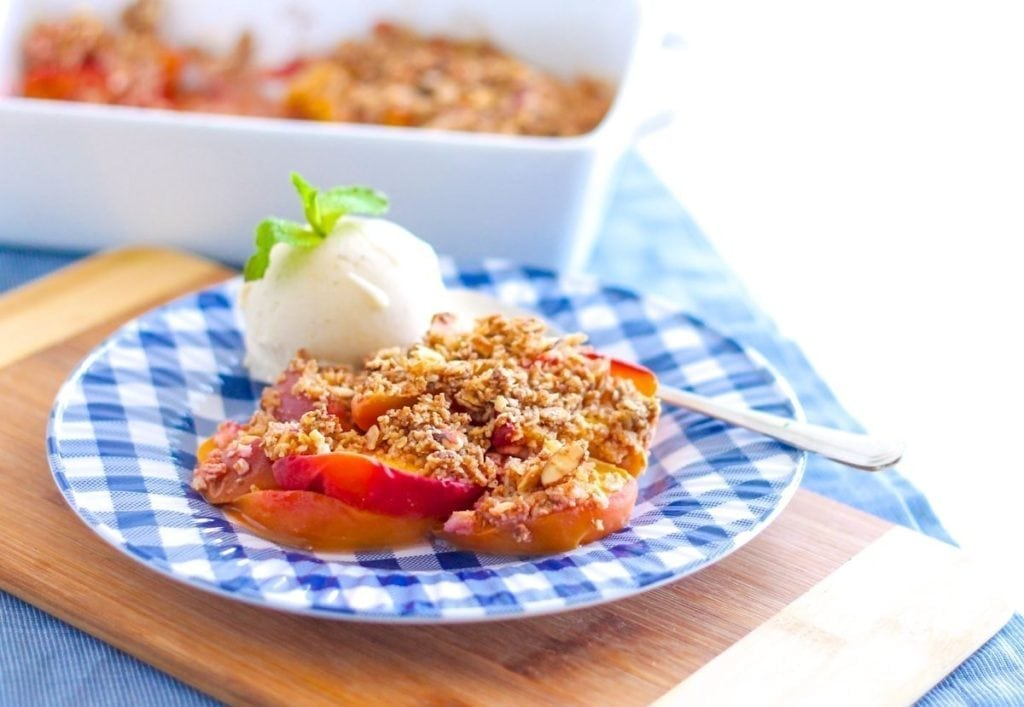 Gluten-Free Coconut Almond Peach Crisp with Vanilla 'Nice Cream' - Eat Spin Run Repeat