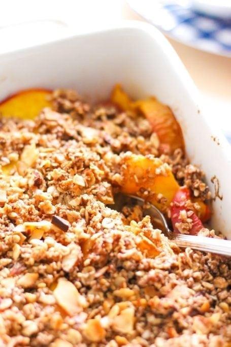 Gluten-Free Coconut Almond Peach Crisp with Vanilla 'Nice Cream' - Eat Spin Run Repeat