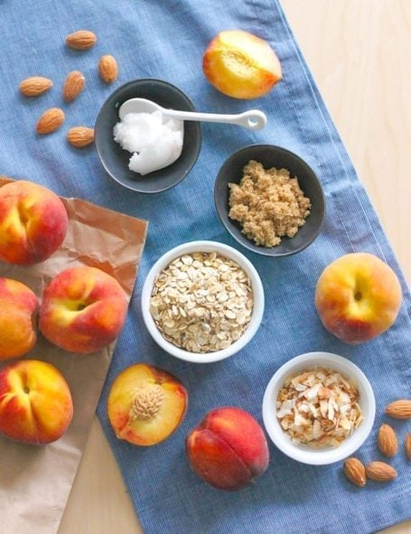 Ingredients for Gluten-Free Coconut Almond Peach Crisp with Vanilla 'Nice Cream' - Eat Spin Run Repeat