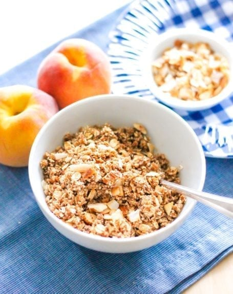 Oat and Almond Topping for Gluten-Free Coconut Almond Peach Crisp with Vanilla 'Nice Cream' - Eat Spin Run Repeat