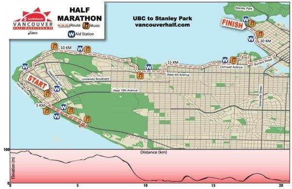Scotiabank Vancouver Half Marathon Map 2016