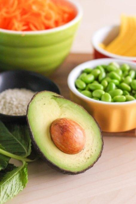 avocado and edamame