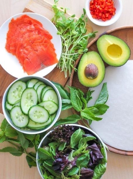 Ingredients for Smoked Salmon and Avocado Summer Rolls - Eat Spin Run Repeat