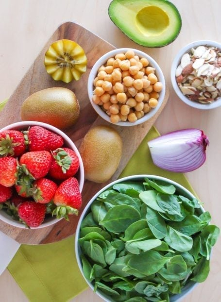 Ingredients for Strawberry Kiwi Chickpea Salad - Eat Spin Run Repeat