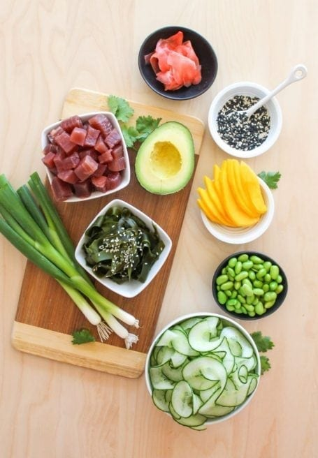 Ingredients for Tuna Poke Bowl - Eat Spin Run Repeat