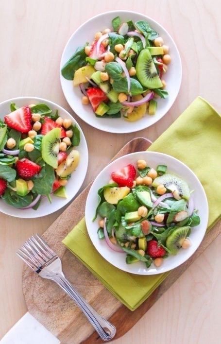 Strawberry Kiwi Chickpea Salad - Eat Spin Run Repeat