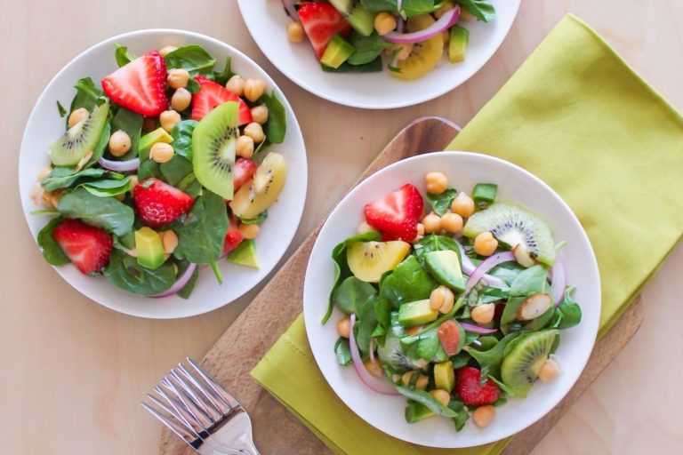 Strawberry Kiwi Chickpea Salad - Eat Spin Run Repeat