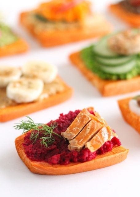 ginger beet smoked salmon sweet potato toast - eat spin run repeat