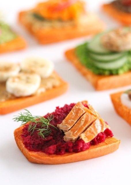 ginger beet smoked salmon sweet potato toast - eat spin run repeat