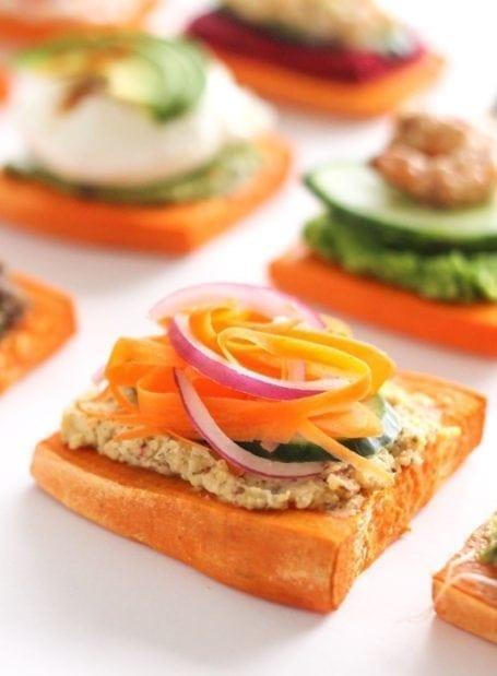 hummus carrot onion and cucumber sweet potato toast - eat spin run repeat