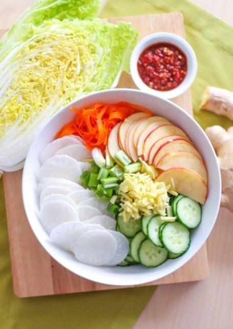 ingredients for DIY kimchi