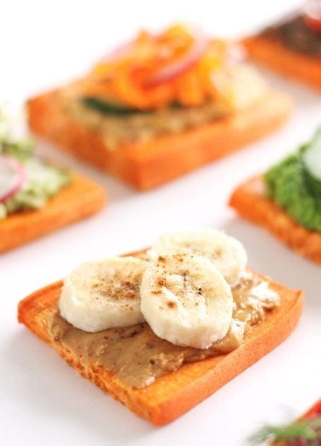peanut butter and banana sweet potato toast - eat spin run repeat