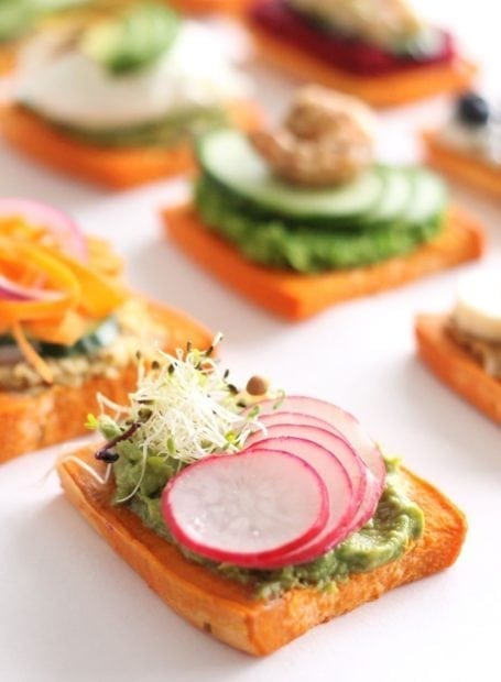 radish sprout and mashed avocado sweet potato toast - eat spin run repeat