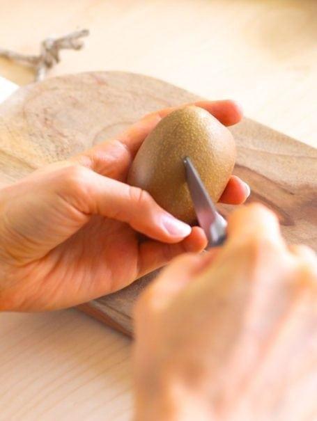 slicing a kiwi