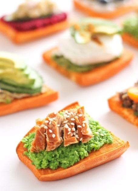 smashed edamame smoked salmon and sesame sweet potato toast - eat spin run repeat