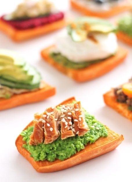 smashed edamame smoked salmon and sesame sweet potato toast - eat spin run repeat