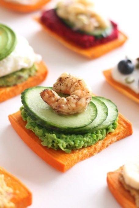 smashed pea cucumber and shrimp sweet potato toast - eat spin run repeat